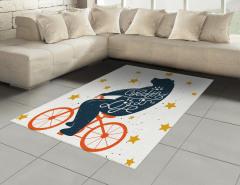 Turuncu Bisikletli Ayı Halı (Kilim) Yıldız Dekoratif