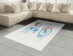 Mavi Bisiklet Desenli Halı (Kilim) Çiçekli Dekoratif