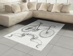 Siyah Bisiklet Desenli Halı (Kilim) Nostaljik Şık