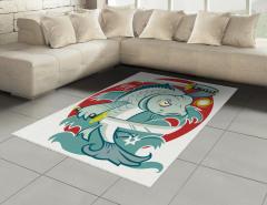 Samuray Balık Desenli Halı (Kilim) Mavi Dekoratif