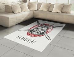 Samuray Kılıcı Desenli Halı (Kilim) Gri Kırmızı Siyah