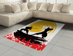 Ninja Desenli Halı (Kilim) Sarı Siyah Kırmızı Savaşçı