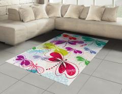 Rengarenk Yusufçuk Halı (Kilim) Çiçekler Yusufçuk