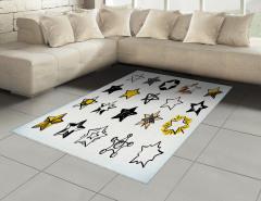 Yıldız Desenli Halı (Kilim) Beyaz Sarı Siyah Trend