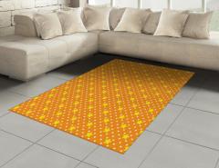 Yıldız Desenli Halı (Kilim) Turuncu Sarı Şık Tasarım