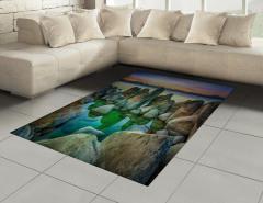 Kayalı Göl Halı (Kilim) Doğal Cennet Mavi