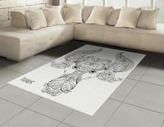 Çiçekli Boğa Burcu Halı (Kilim) Siyah Beyaz