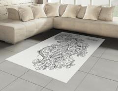 Şık Kova Burcu Desenli Halı (Kilim) Siyah ve Beyaz