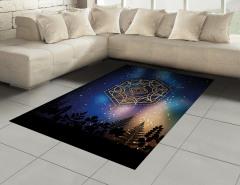 Yıldızlar ve Gökyüzü Halı (Kilim) Siyah Mavi Şık Tasarım