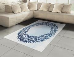 Deniz Kabuğu ve Çiçek Halı (Kilim) Mavi Beyaz