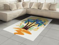Palmiye Desenli Halı (Kilim) Palmiye Turuncu