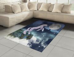 Masal Temalı Halı (Kilim) Unicorn Mavi Yıldız Şık