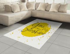 Aşk Temalı Halı (Kilim) Romantik Sarı Sulu Boya Şık