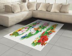Tropikal Renkli Çiçek Halı (Kilim) Tropikal Çiçekler Turuncu