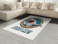 Acıkmış Köpek Balığı Halı (Kilim) Mavi Kahverengi