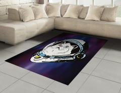 Astronot Kedi Temalı Halı (Kilim) Mor Beyaz Uzay