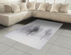 Karlı Orman Desenli Halı (Kilim) Beyaz Kahverengi