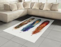Kuş Tüyü Desenli Halı (Kilim) Sulu Boya Şık Tasarım