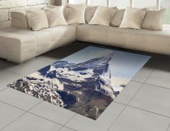 Dağ Manzaralı Halı (Kilim) Kar Gri Gökyüzü Doğa Bulut