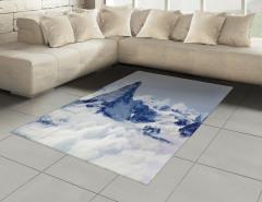 Karlı Dağ Manzaralı Halı (Kilim) Kar Gökyüzü Bulut