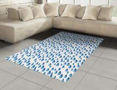 Mavi Yağmur Damlaları Halı (Kilim) Mavi Damlalar Beyaz