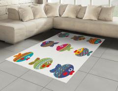 Rengarenk Balık Desenli Halı (Kilim) Şık Tasarım