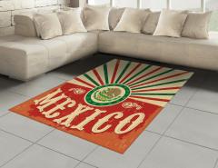 Meksika Bayrağı Desenli Halı (Kilim) Kırmızı Yeşil