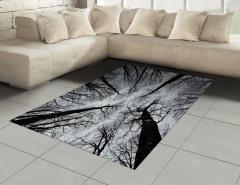 Siyah Beyaz Ağaçlar Halı (Kilim) Şık Tasarım