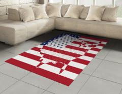 ABD Bayrağı ve Harita Halı (Kilim) Dekoratif