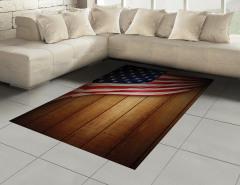 Kahverengi Ahşap Temalı Halı (Kilim) ABD Bayraklı