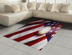 Beyzbol Topu Temalı Halı (Kilim) ABD Bayrağı Fonlu