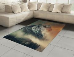 Sisli Karlı Dağlar Halı (Kilim) Bulutlu Gökyüzü