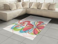 Çiçek ve Kalp Desenli Halı (Kilim) Pembe Çeyizlik Şık