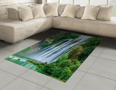 Şelale Manzaralı Halı (Kilim) Yeşil Ağaç Orman Doğa