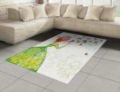 Kelebek ve Kız Desenli Halı (Kilim) Yeşil Şık Tasarım