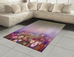 Sulu Boya Çiçekler Halı (Kilim) Mor Fonlu Dekoratif