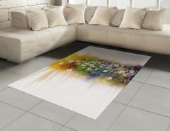 Dekoratif Çiçekler Halı (Kilim) Çeyizlik Şık Tasarım