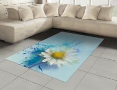 Papatya Desenli Şık Halı (Kilim) Çiçekli Mavi Beyaz Sarı