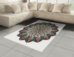 Çiçek Desenli Halı (Kilim) Etnik Şık Tasarım Mandala