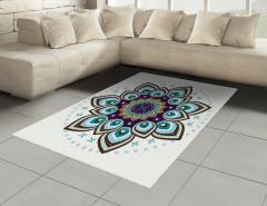 Çiçek Desenli Halı (Kilim) Mavi Şık Tasarım Trend