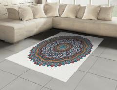 Çiçek Desenli Halı (Kilim) Mandala Trend Turuncu