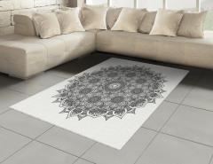 Çiçek Desenli Halı (Kilim) Mandala Şık Tasarım Etnik