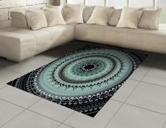 Çiçek Desenli Halı (Kilim) Mavi Mandala Şık Tasarım