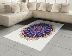 Mor Çiçek Desenli Halı (Kilim) Mandala Şık Tasarım