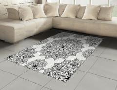 Çiçek Desenli Halı (Kilim) Siyah Beyaz Şık Tasarım