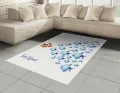 Balık Sürüsü Halı (Kilim) Turuncu Mavi Balık