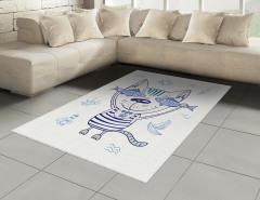 Sevimli Kedi ve Balık Halı (Kilim) Denizci Kedi ve Balıklar