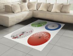Japon Şemsiyesi Desenli Halı (Kilim) Rengarenk Şık