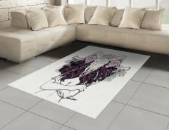 Mor Saçlı Kadın Desenli Halı (Kilim) Kemik Çiçek
