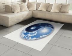 Ay ve Güneş Temalı Halı (Kilim) Yin Yang Mavi Yıldız